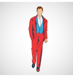 Sketch man in fashion clothes eps vector