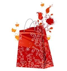 Floral shopping bag vector