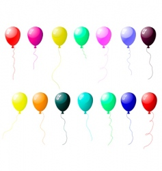 Colourful balloons set with glare vector