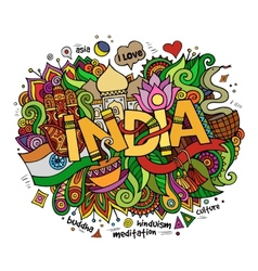 India hand lettering and doodles elements vector