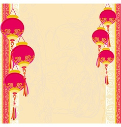 Chinese new year with chinese lanterns card vector
