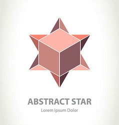 Abstract star logo with box inside logotype design vector