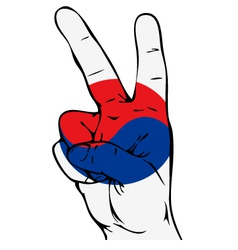 Peace sign of the south korean flag vector