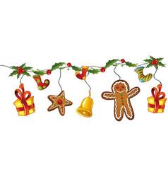 Christmas decoration holly vector