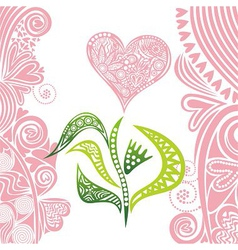 Valentines day card flower heart vector