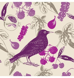 Vintage bird berry pattern vector