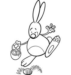 Easter bunny cartoon coloring page vector