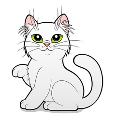 Cartoon white cat vector