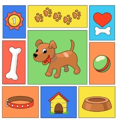 Funny cartoon dog and icons - vector