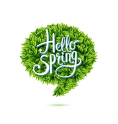 Hello spring speech bubble in green leaves vector