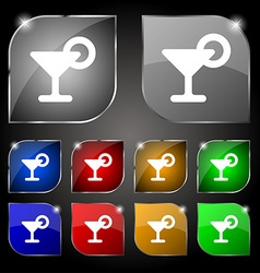 Drink cocktail with a lemon icon sign set of ten vector