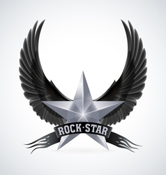 Silver star with rock star banner and wings vector