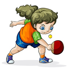 A caucasian girl playing table tennis vector