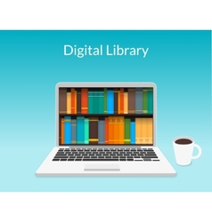 Laptop with ebooks vector