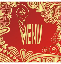 Valentines day romantic menu red and gold vector