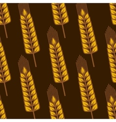 Seamless pattern with ripe golden wheat ears vector