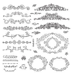 Floral decor set of hand drawn vintage vector