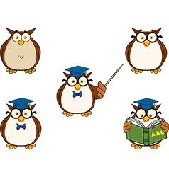 Cartoon owl teaching vector