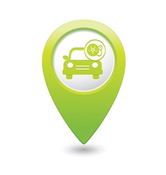Car with wheel pump icon map pointer green vector