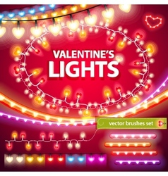 Valentines lights decorations set vector