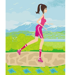 Teen girl having fun on roller skates vector