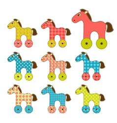Set of patchwork horses 2 vector