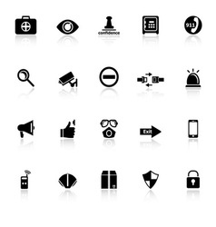 Security icons with reflect on white background vector