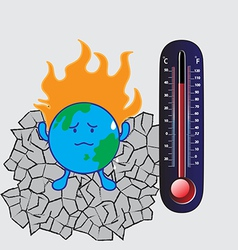 Thermometer and global warming vector