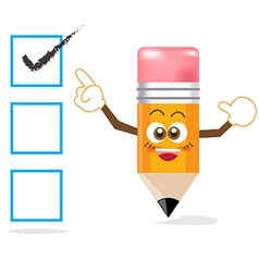 Pencil cartoon showing right checkmark vector