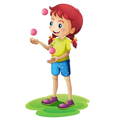 A young girl juggling vector