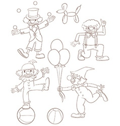 Plain sketches of the playful clowns vector