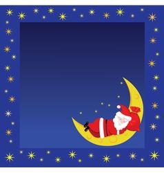 Christmas frame wiht sleeping santa vector