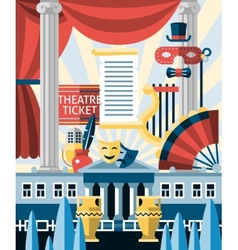 Theatre icons concept vector