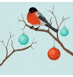 Bird on tree in christmas a vector