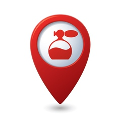 Map pointer with perfume icon vector