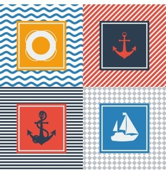 Set of cards with nautical symbols in flat design vector