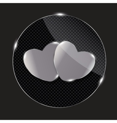 Heart glass button vector
