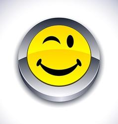Smiley 3d button vector