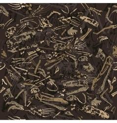 Seamless dinosaur bones pattern vector