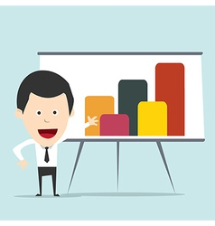 Cartoon business man present graph vector