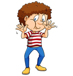 Boy wearing a stripes shirt vector