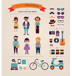 Hipster info graphic concept background with icons vector