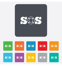 Sos sign icon lifebuoy symbol vector