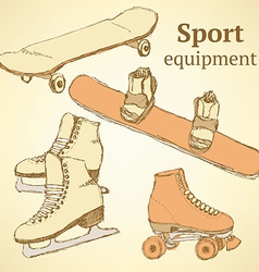 Sketch sport equipment in vintage style vector