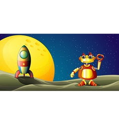 A robot and a spaceship in the outer space vector