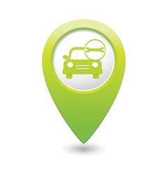 Car with wrench icon map pointer green vector