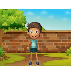 Boy standing in the yard vector