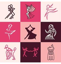 Dances logo icons vector