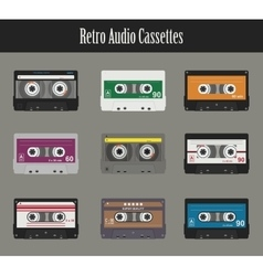 Audio cassette flat tapes vector