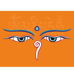 Buddha eyes or wisdom eyes - religious symbol vector